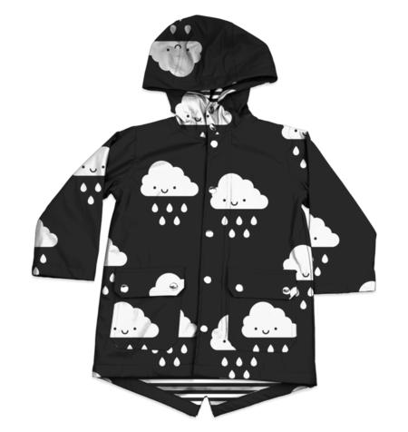 KIDS WHISTLE & FLUTE Kawaii Cloud Raincoat - BLACK