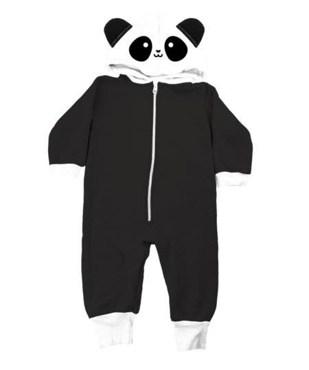KIDS WHISTLE & FLUTE Kawaii Panda Hooded Romper - BLACK