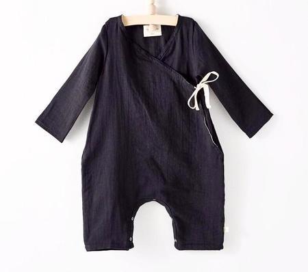 KIDS Bacabuche Long Sleeve Kimono Romper - BLACK