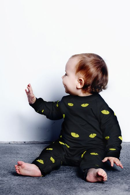KIDS LITTLE MAN HAPPY Lurking Eyes Jumpsuit - BLACK