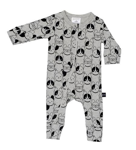 KIDS Huxbaby Puppy Love Zip Romper - GREY