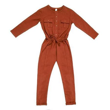 KIDS Feather Drum Long Sleeve Jumpsuit - RUSTY