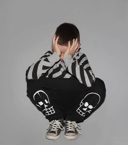 Kids Nununu Skull Robot Patch Baggy Pants - BLACK