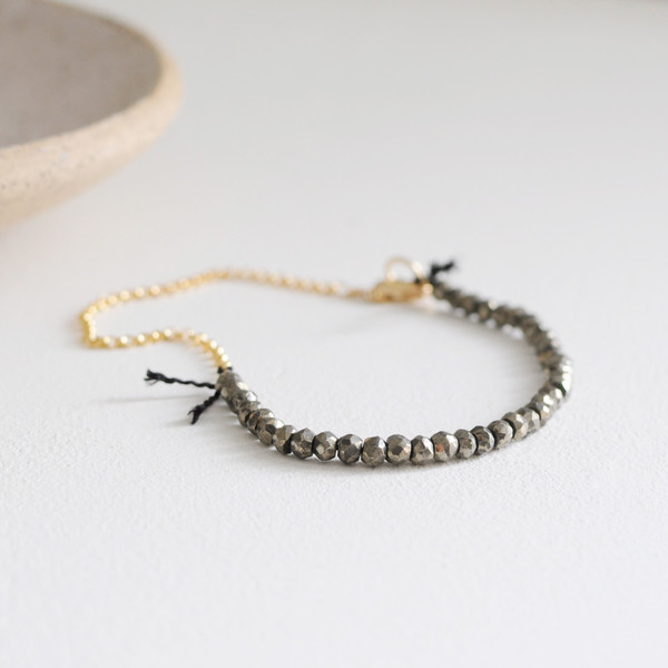 "Clementine Pyrite ""Fool's Gold"" Beaded Bracelet"
