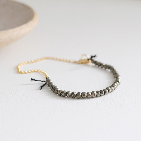 """Clementine Pyrite """"Fool's Gold"""" Beaded Bracelet"""