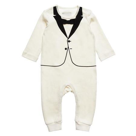 KIDS The Tiny Universe The Tiny Tuxedo Romper - White