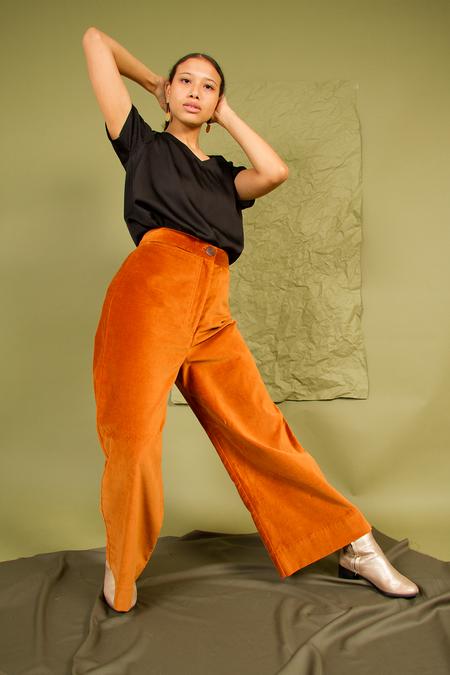 Bhoomki Velvet A-Line Pant - Bronze