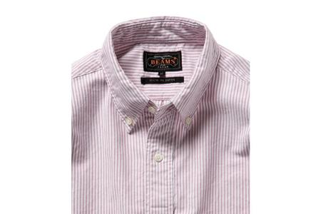 Beams + Striped Button Down Shirt - Wine