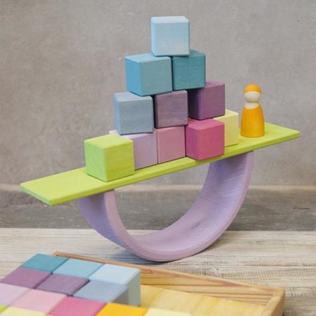 KIDS Grimm's Set Of 36 Wooden Blocks - Pastel