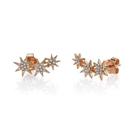 Gabriela Artigas Triple Star Earrings - Rose Gold