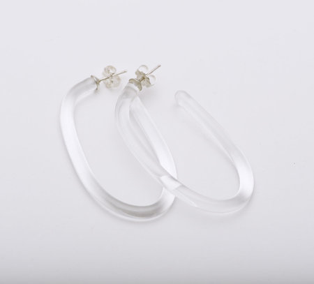 Leigh Miller Large Glass Hoops - Clear