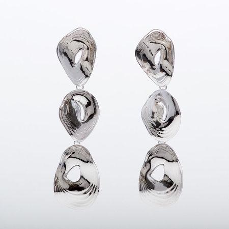 Leigh Miller Rhodium Plated Triple Tier Earrings