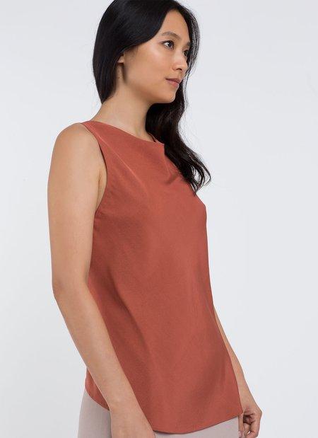 KAAREM Oi Low Back Silk Tank - Terracotta