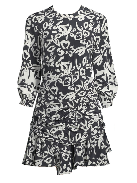 Tanya Taylor BLOCK PRINT MEL DRESS - Black