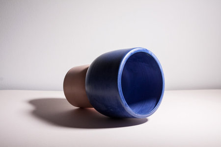 YYY Puff Pedestal Vessel - Cobalt/Peach