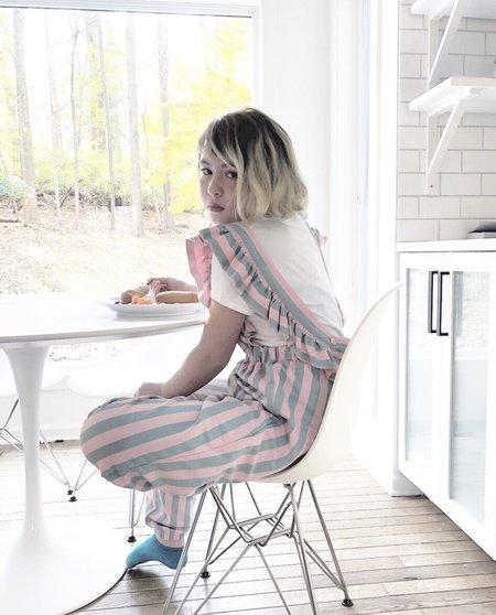 KIDS Hugo Loves Tiki Cotton Candy Stripe Ruffled Jumpsuit