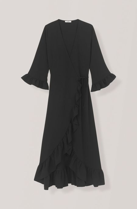 Ganni Crepe Wrap Dress - Black