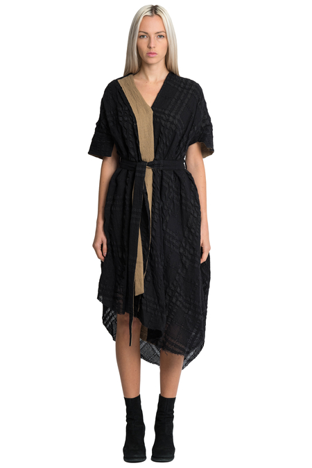 Forme D'Expression Layered Asymmetric Dress Coat - Black/Brown