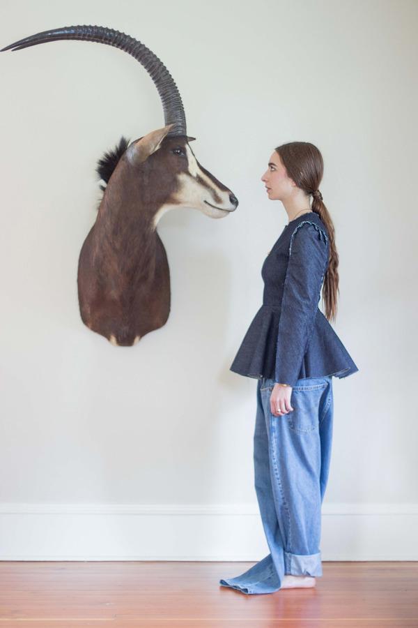 Alexa Stark Long-sleeve Denim Peplum Shirt