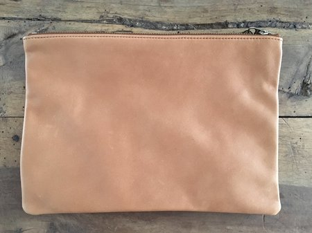 Baggu Medium Flat Leather Pouch - Saddle