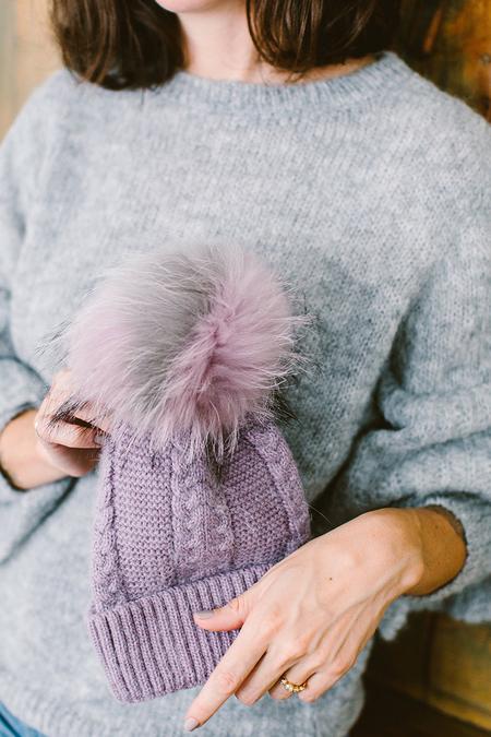 Linda Richards Fur PomPom Hat - Purple