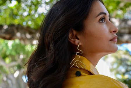 Edas Prime Earrings - Brass/Wood