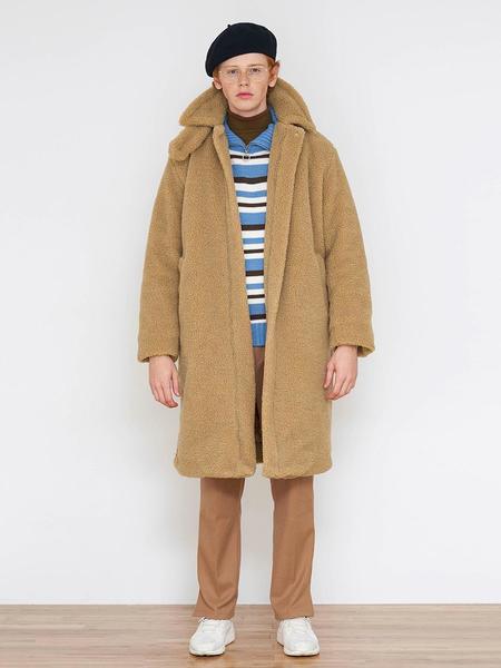 Unisex AGENDER High Collar Teddy Bear Coat - Beige