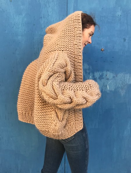 I love Mr Mittens Cable Hooded Bomber - Taupe