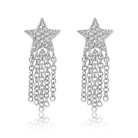 J. Luu Diamond Star Fringe Earring - White Gold