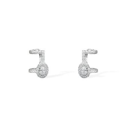 Messika Pavé Glam'Azone Diamond Earrings - 18k White Gold with Diamonds