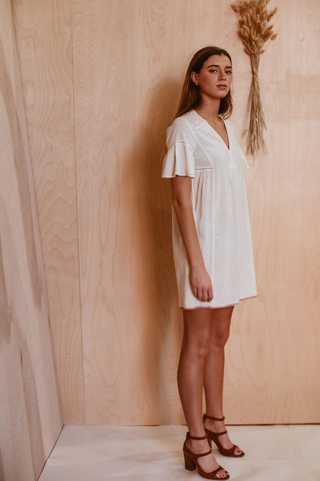 SITA MURT embroidered dress - OFF WHITE