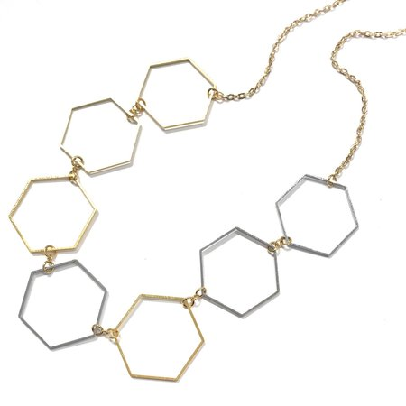 Marijke Bouchier Gold and Silver Hexagons Necklace