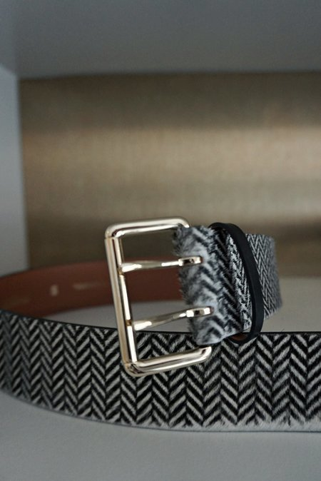 Maison Boinet Wide Belt With Square Double Prong Buckle - Black/White