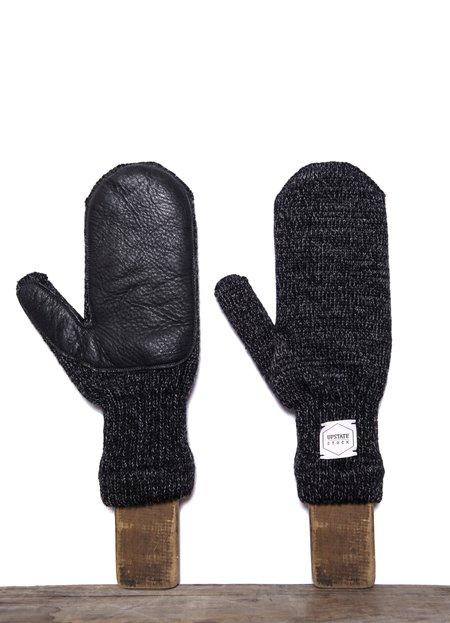 Upstate Stock Ragg Wool Mitten with Natural Deerskin - Black Melange