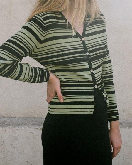 Peso Vintage Sage Cardigan - Striped