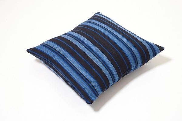 Osei Duro Handwoven Pillow in Blue Black Stripe