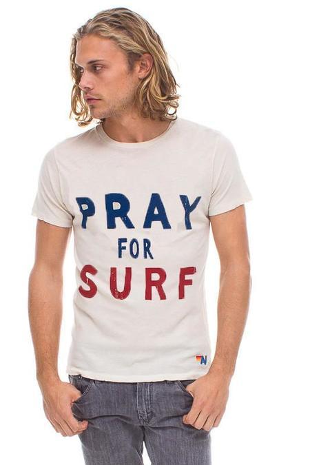 Unisex Aviator Nation Pray for Surf T-Shirt - Vintage White