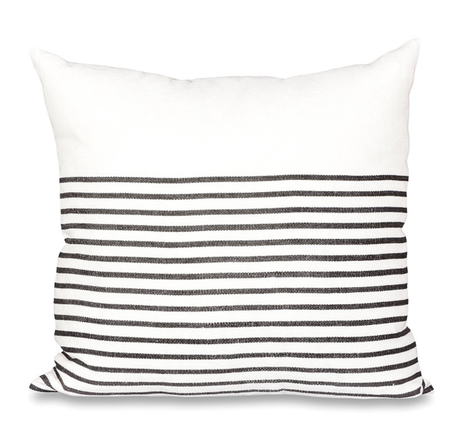 Sugar Feather 3/4 Stripe Pillow - Charcoal/White