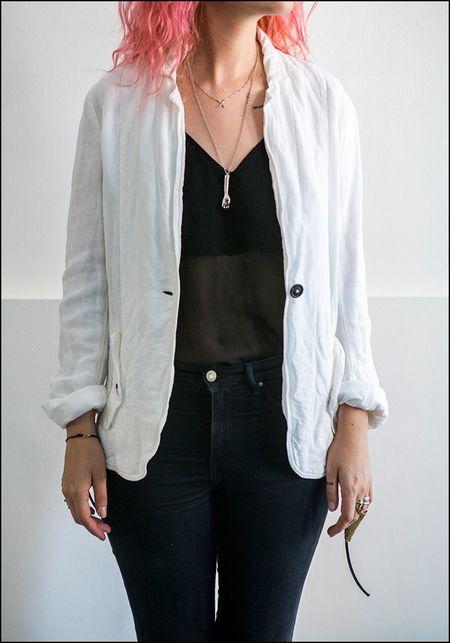 Rundholz DIP Gauze Blazer Jacket - WHITE