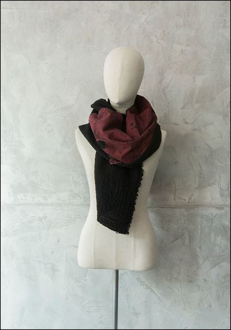 Claudio Cutuli Red Leather Patch Scarf