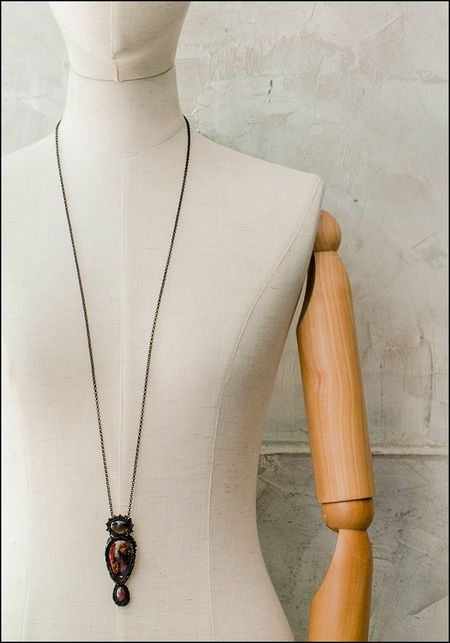 Jacki Holland Sunstone Moss Agate and Sapphire Necklace