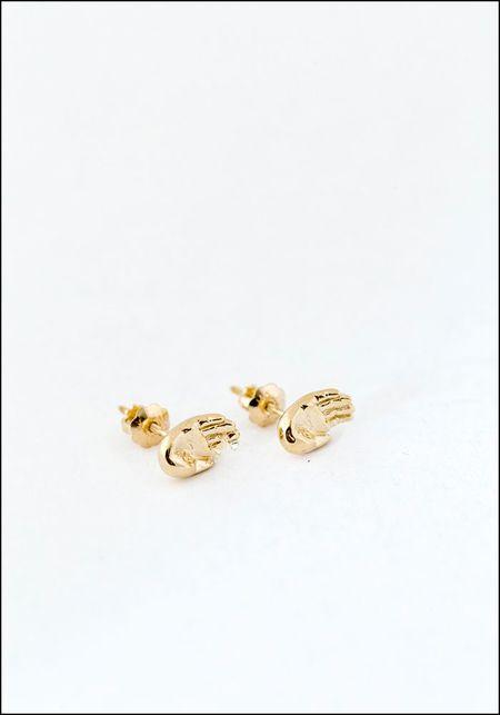 Elaine Ho Talisman Hand Studs - 14k Gold