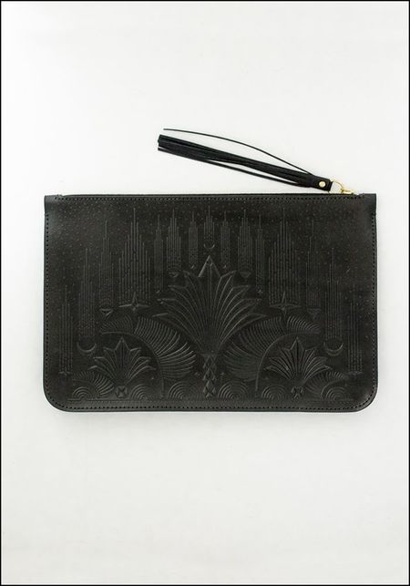 Animal Handmade Embossed Leather Cut the Sky Clutch - BLACK