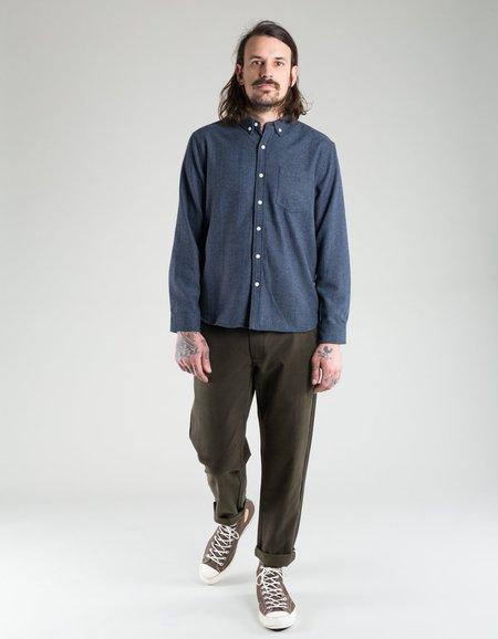 Native North Wool Herringbone Shirt - Navy Melange