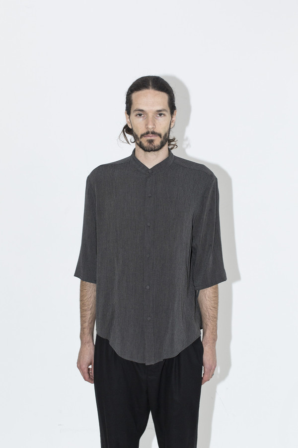 Men's Assembly New York Grey Gauze No Collar Shirt