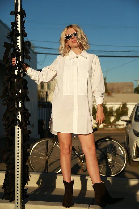 Alexa Chung Oversized Tux Shirt - White
