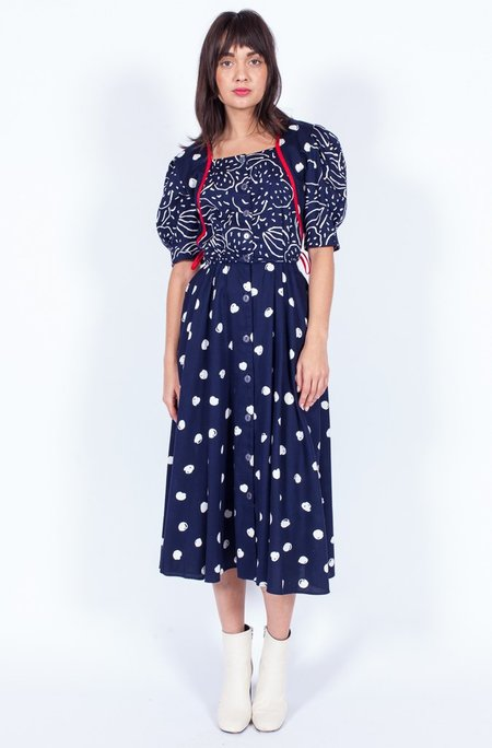 Yo Vintage! Dotty Dress - Navy