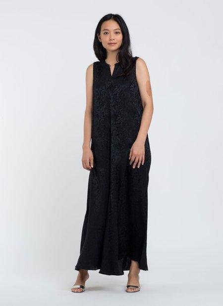 KAAREM Calo Front Seam Sleeveless A-Line Silk Dress - Black Floral