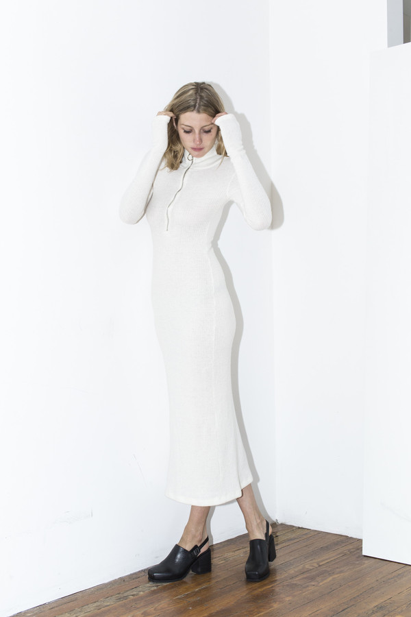 Assembly New York White Ribbed Maxi Dress