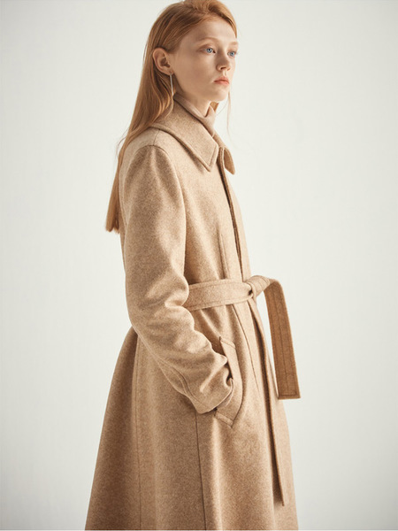 HALEINE A-line Angora Coat - Light Beige